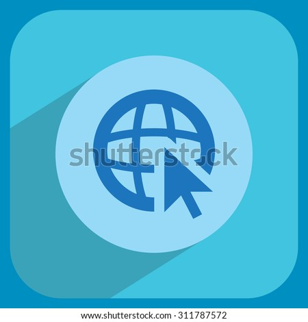 Globe (go to web), web icon. Vector design - stock vector