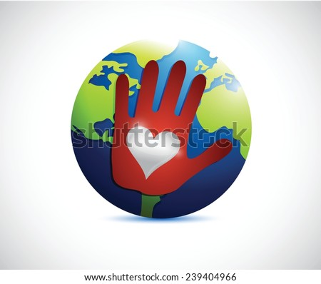 globe hand love hand illustration design over a white background - stock vector