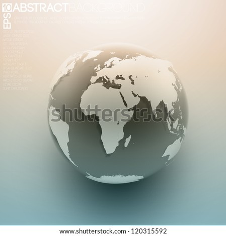 Globe icon background with smooth vector shadows and  map of the continents of the world