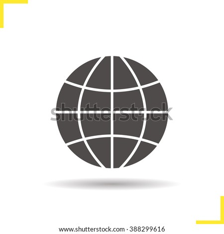 Globe icon. Drop shadow Earth symbol silhouette. Global sign. World globe logo concept. Vector worldwide icon. Isolated planet Earth illustration - stock vector