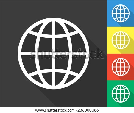 globe icon - gray and colored (blue, yellow, red, green) vector illustration with long shadow - stock vector