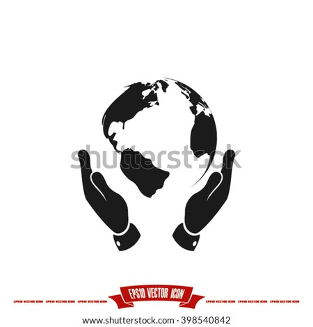 Globe icon. Illustration of a globe on the hand, vector graphics. Globe icon jpg. Globe icon eps10. Globe icon picture. Globe icon flat. Globe icon app. Globe icon web. Globe icon object - stock vector