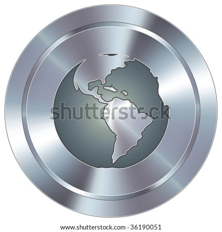 Globe icon on round stainless steel modern industrial button - stock vector