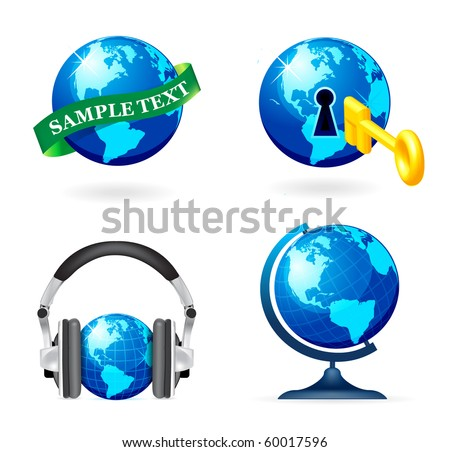 Globe icon set on white background
