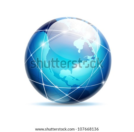 globe icon - vector business logo - isolated on white background - stock vector