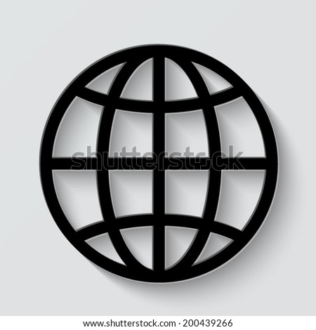 Globe icon - vector illustration with shadow on light background - stock vector