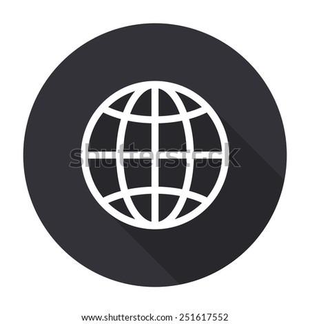 globe icon with long shadow - vector round button - stock vector