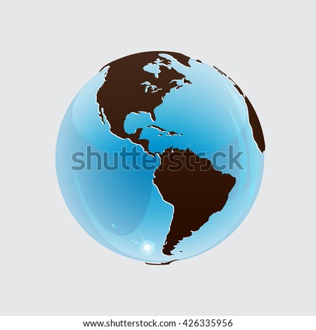 Globe icon with  map of the continents of the world. Globe icon with red map of the continents of the world. Earth icon, Earth icon eps10, Earth icon vector, Earth icon flat,  Earth icon web,  - stock vector