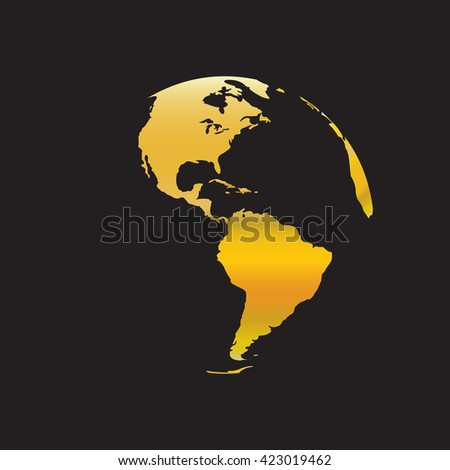 Globe icon with red map of the continents of the world. Earth icon, Earth icon eps10, Earth icon vector, Earth icon eps, Earth icon flat, Golden Globe, Golden Earth. - stock vector