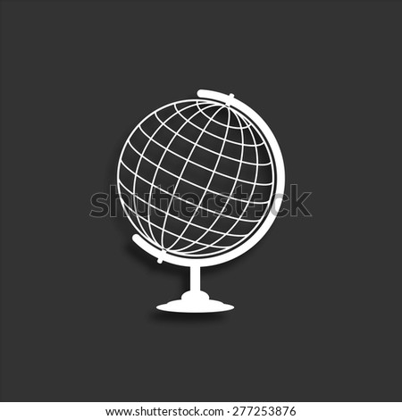 Globe icon with shadow - vector illustration
