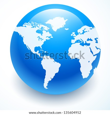 Globe icon with white map of the continents of the world - stock vector