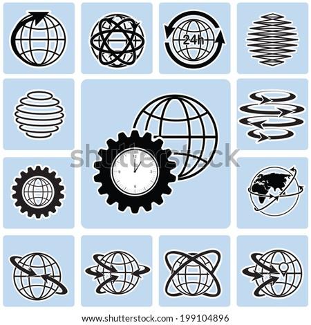 Globe icons. Vector globe sign set. - stock vector