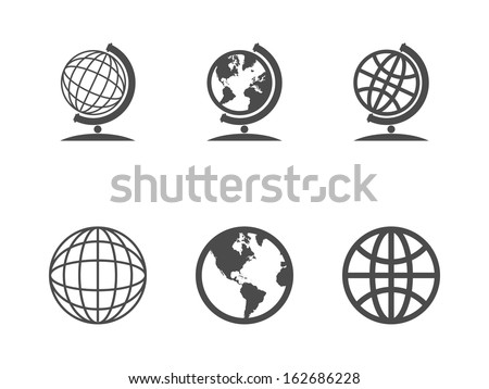 Globe icons. Vector illustration.