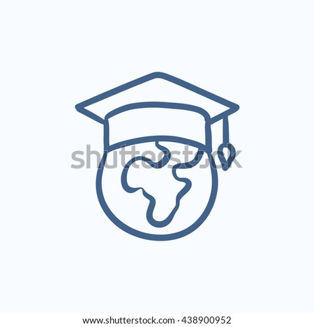 Globe in graduation cap vector sketch icon isolated on background. Hand drawn Globe in graduation cap icon. Globe in graduation cap sketch icon for infographic, website or app. - stock vector