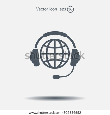 Globe in headphones line icon.