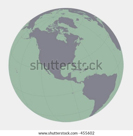 Globe in vector format focusing on Americas, space view. Data from ESRI ArcView. Data layers used: ESRI world30.* and ArcWorld cntry92.*   Please rate this image! Let me know how you use it. Thanks! - stock vector
