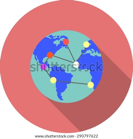 Globe, internet, world, magnifier icon vector image. Can also be used for seo, digital marketing, technology. Suitable for use on web apps, mobile apps and print media. - stock vector