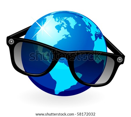 Globe is in dark eyeglasses - stock vector