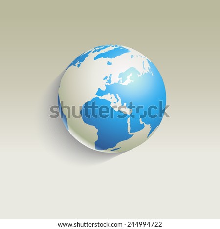 Globe - long shadow - vector illustration - stock vector