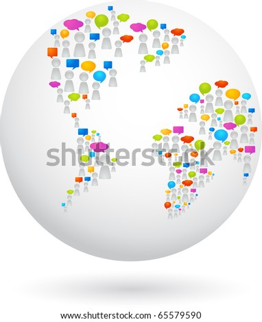 Globe made from abstract figures and speech bubbles - stock vector