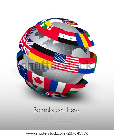 Globe made of a strip of flags. Vector. - stock vector