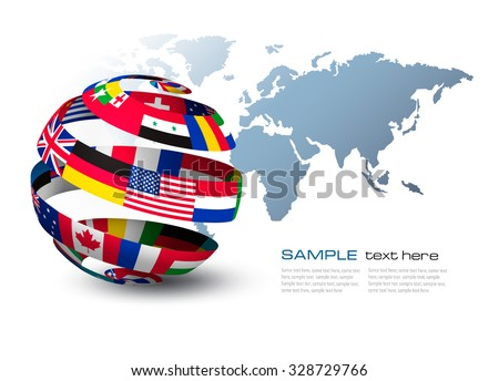 Globe made out of flags on a world map background. Vector. - stock vector