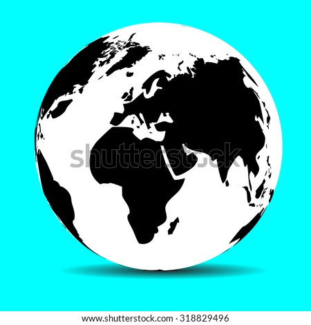 Globe map earth, continent and ocean, planet and land, sphere global, vector graphic illustration - stock vector
