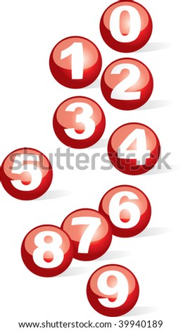 globe number ball - stock vector
