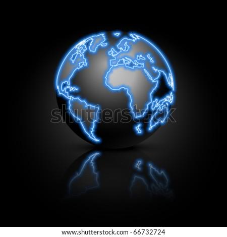 Globe on a black background. Vector illustration. Eps10. - stock vector