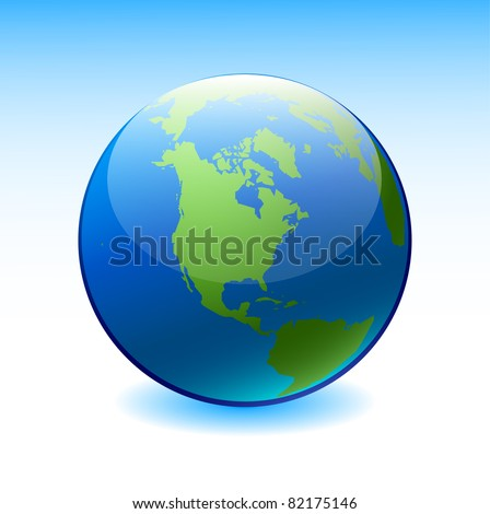 Globe on a blue background - stock vector