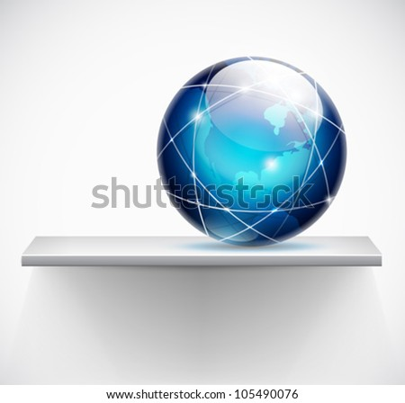 globe on a shelf - global connections concept - vector - stock vector