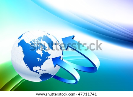 Globe on Abstract Color Background Original Vector Illustration