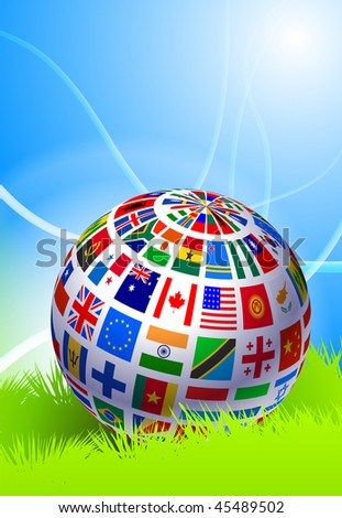 Globe on Abstract Nature Background Original Vector Illustration EPS10