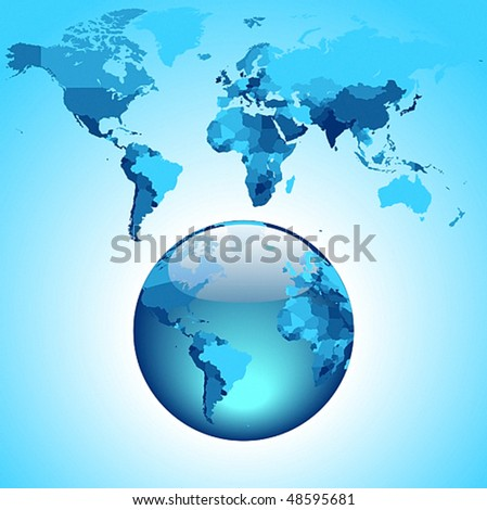 Globe on blue World map. Vector illustration.