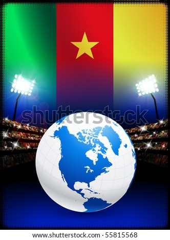 Globe on Stadium Background with Cameroon Flag Original Illustration