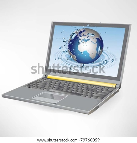 Globe on the laptop screen
