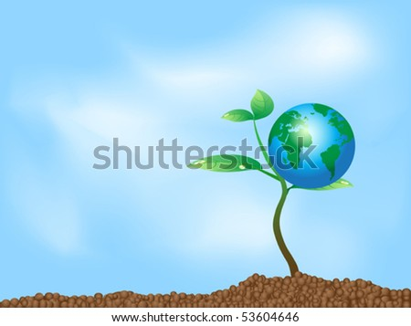 globe on the plant - stock vector