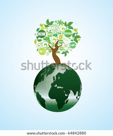 globe on which grows an abstract tree - stock vector