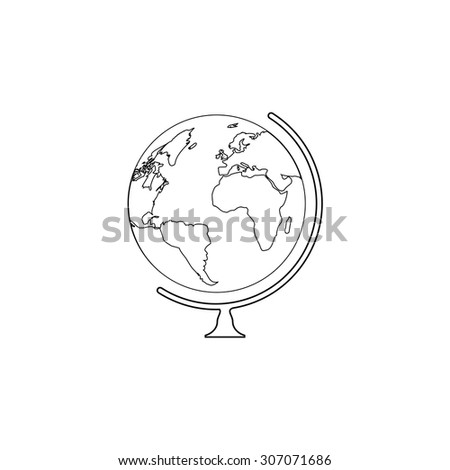 Globe. Outline black simple vector pictogram - stock vector
