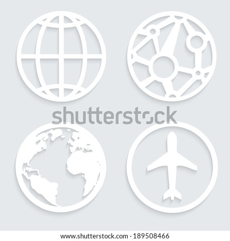 Globe paper white icons with shadows - stock vector