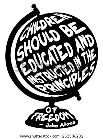 Globe School Education inspirational quote world silhouette vector - stock vector