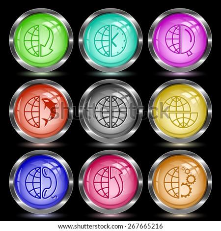 Globe set. Internet button. Vector illustration. - stock vector