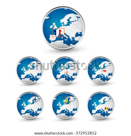 Globe set with EU countries World Map Location Part 3. All elements are separated in editable layers clearly labeled. - stock vector