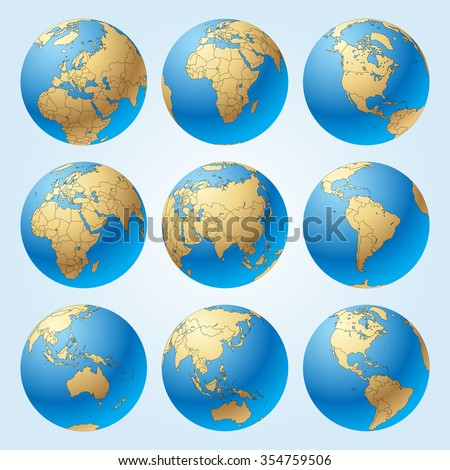 Globe set with with borders of world countries. Easy to select every country and delete contour of borders. Vector illustration - stock vector
