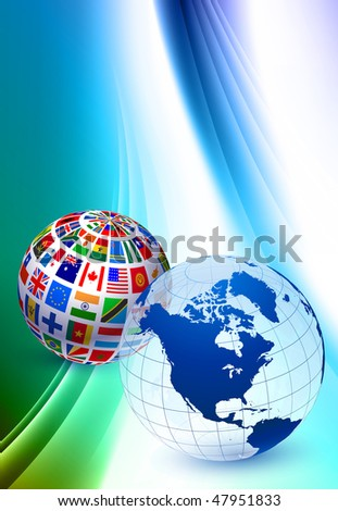 Globe Sets on Abstract Color Background Original Vector Illustration