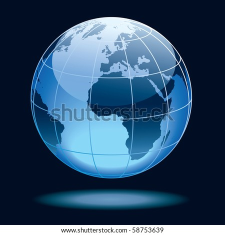 Globe showing earth with continents Europe and Africa. - stock vector