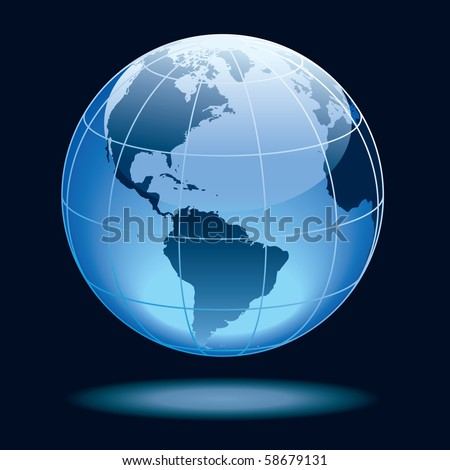 Globe showing earth with continents North and South America.