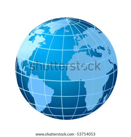 Globe showing Europe, Africa and Americas with Atlantic Ocean - stock vector