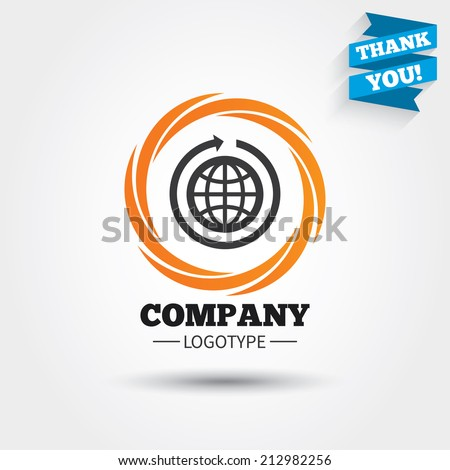 Globe sign icon. Round the world arrow symbol. Full rotation. Business abstract circle logo. Logotype with Thank you ribbon. Vector - stock vector