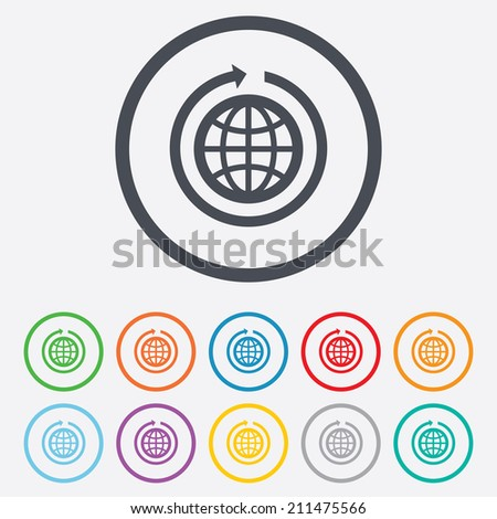 Globe sign icon. Round the world arrow symbol. Full rotation. Round circle buttons with frame. Vector - stock vector